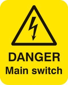 Danger main switch Sheet of 25 labels 40x50mm
